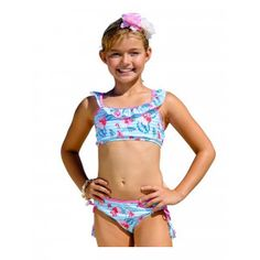 51a972cd1774c Sun Emporium Little Girls Blue Mist Tropicana Shoulder Frills 2 Pc Swimsuit  4-6 Boys