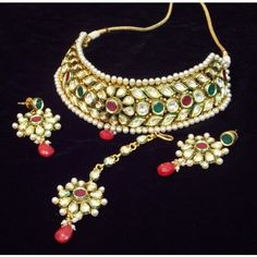 Elegant and delicate kundan polki pearl choker style necklace set - Online Shopping for Necklaces by Elegant Elements