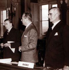 Maurice Duplessis, Paul Sauvé et Antonio Barrette lors de la conférence fédérale-provinciale de Québec en 1950