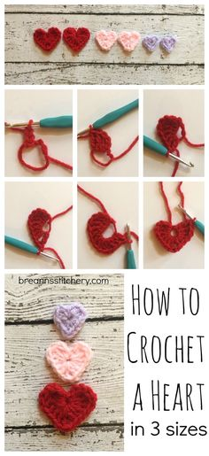 These little Crochet Heartsare so darling and so easy! They can be added to hats, scarves, toys, wreaths… there are so many possibilities with this applique. PATTERN Materials: worsted weigh…