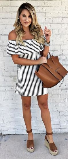 Pretty striped off the shoulder dress / love the tan handbag and shoes