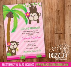 Printable Girl Monkey Baby Shower Invitation | Pink Jungle | FREE thank you card included | Party Package Decorations Available | www.dazzleexpressions.com