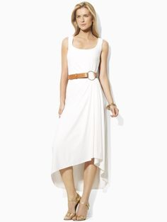 LAUREN-tank dress with fluid draped hem line-love it best with camel belt and in white