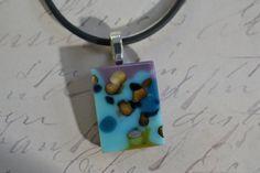 Fused Glass Jewelry  Turquoise  Purple  Blue  by BillyandPurts, $17.00