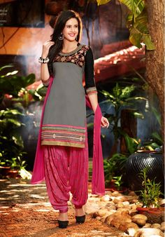 Gray, Black & Pink Unstitch Pure Cotton Suit With Chiffon Dupatta Patiala Dress, Ladies Salwar Kameez, Patiala Salwar Suits, Cotton Salwar Kameez, Punjabi Dress, Salwar Suits Online, Punjabi Suits, Indian Suits, Indian Wear
