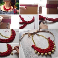 How To Make Braided gold pearl jewelry Necklace step by step DIY tutorial instructions, How to, how to do, diy instructions, crafts, do it yourself, diy website, art project ideas