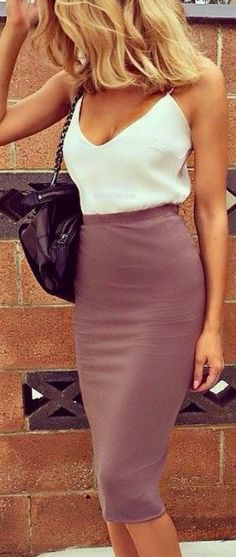 Past The Knee Bodycon Pencil Skirt Silk Chemise Tank Top