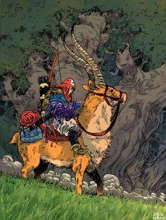 Princess Mononoke: Ashitaka and Yakul by Daniel Warren Johnson, colours by Soup Lord * Studio Ghibli Art, Studio Ghibli Movies, Mononoke Anime, Anime Art, Manga Anime, Manga Girl, Anime Girls, Corpse Party, Animation
