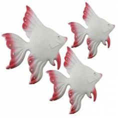 3'Lü poliéster FISH pared colgante PINK WHITE - HG1807