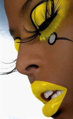 ladies womens fashion lady woman DIY videos tutorial make lipstick makeup lover cosmetics lips eyes looks divas Make Up Art, Eye Make Up, How To Make, Extreme Makeup, Fantasy Make Up, Mellow Yellow, Color Yellow, Yellow Black, Lemon Yellow