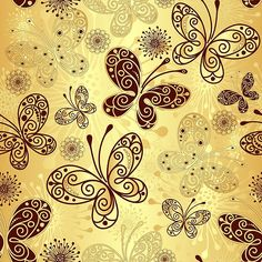 Gold and brown butterfly pattern