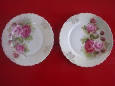 Shabby Chic CT Altwasser Gilded Rose Plates from Germany Set of 2.