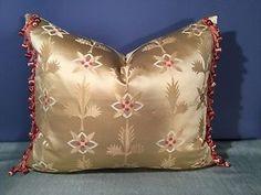"Scalamandre ""Gold"" Silk w ""Buddy French"" Silk Trim Pillow | eBay"