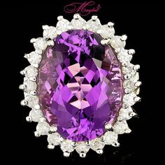 $7800 CERTIFIED 14K WHITE GOLD 12.00CT NATURAL AMETHYST 1.00CT DIAMOND RING #Cocktail