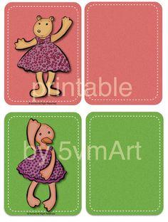 Card Animal per PL o come segnapagina printable da scaricare tagliare e plastificare. Illustrazioni by 5vmArt