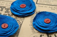 blue fabric flowers