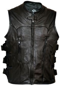 Premium Leather Adjustable Motorcycle Vest Waistcoat | Stylees.co.uk - Motorcycle & Leather Fashion Clothing Store - Motorcycle Jackets, Helmets, Biker Boots, Leather Pants & Chaps