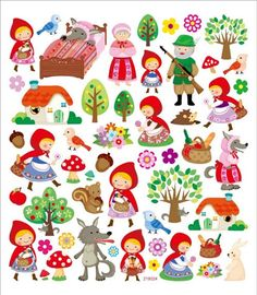 Little Red Riding Hood Sticker. Use these educational stickers as classroom tools to motivate; and reward young achievers! They feature bright colors and realistic shapes that childr Red Riding Hood Party, Art For Kids, Crafts For Kids, Apple Stickers, Scrapbook Stickers, Little Red, Sticker Paper, Cute Drawings, Paper Dolls