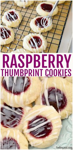 Raspberry thumbprint cookies are a perfect dessert for Valentine's Day, Christmas or any time of year! Learn how to make these thumbprint cookies with Crinkle Cookies, Cookies Fourrés, Jelly Cookies, Filled Cookies, Cookie Icing, Holiday Baking, Christmas Baking, Thumbprint Cookies With Icing, Raspberry Cookies