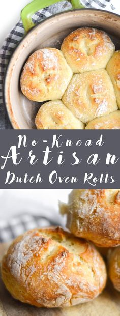 These No-Knead Artisan Rolls are the smaller version of the bread that you can use for burgers, crostini or avocado toast! Dutch Oven Bread, Dutch Oven Cooking, Easy Dutch Oven Recipes, Artisan Bread Recipes, Baking Recipes, Chef Recipes, Amish Recipes, Soup Recipes, Cake