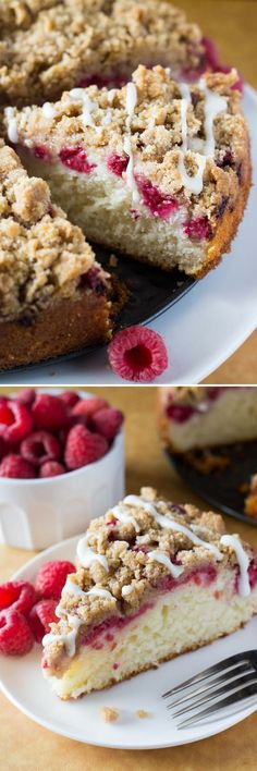 Rich, buttery, perfectly moist Raspberry Coffee Cake with Streusel Topping and Vanilla Glaze! So perfect for breakfast or brunch!