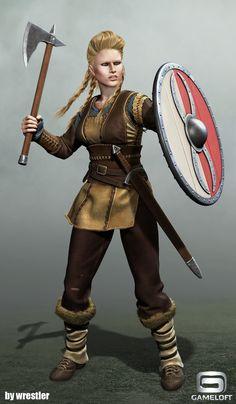viking girl render, Georgi Georgiev on ArtStation at https://www.artstation.com/artwork/d4X5A