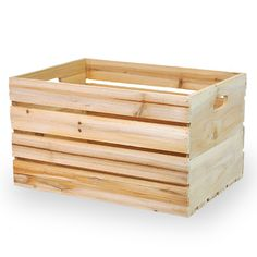 Natural Wooden Storage Crate with In-Handles - Extra Large Lucky Clover Trading is a wholesale baskets distributor and importer of baskets wholesale through a wholesale gift basket suppplies company. Wooden Storage Crates, Crate Storage, Wood Crates, Smart Storage, Storage Room, Toy Storage, Storage Ideas, Basket Shelves, Display Shelves