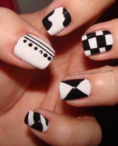 Black and white mixup nail art design