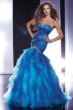 Panoply Turquoise Cheetah Print Chiffon Prom Dress 14460