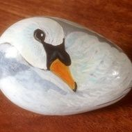 Hand painted rock swan