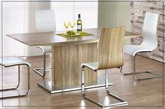 Minimalistyczny stół Delios w kolorze dąb sonoma.