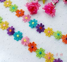 Lace Trim Colorful Daisy  Flower 2.5 cm 1 3 Yards by inthepinkroom, $6.50