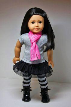 American Girl Doll Clothes-Ruffles Skirt, Shirt. Leggings and Scarf