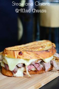 Steak and Onion Grilled Cheese | from willcookforsmiles.com #grilledcheese #steak #sandwich