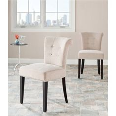 Safavieh Sinclaire Side Chairs With Nailheads Set Of 2 Beige