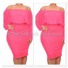 Nicki Pink Dress Plus Size Off Shoulder Bodycon Dress Plus Size 2X, & 3X Dresses Midi