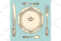 Vintage cutlery and plate illustration. Illustrations