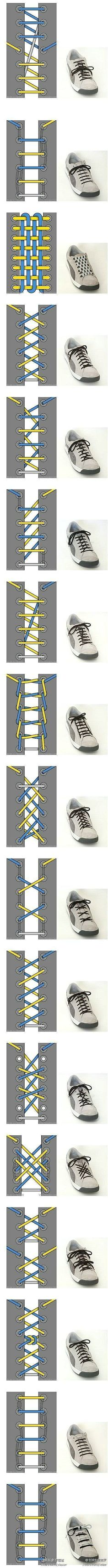 Cool Ways To Tie Your Shoe Laces ~ shoe lace patterns ~ Will have to remember this when the kids finally get shoes with laces. Your Shoes, Good To Know, Life Hacks, Creations, Mens Fashion, Boyish Fashion, Fashion 2020, Fashion Dolls, Style Fashion