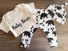 Organic Baby Girl, Boy, Onesie®, One Piece, Bodysuit, Leggings, Pants, Top Knot, Hat, Cap, Bear, Cub, Modern, Boho, Set, Bundle