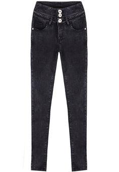 Black High Waist Buttons Denim Pant 20.83
