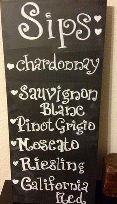 Sips Wine menu Wedding signs