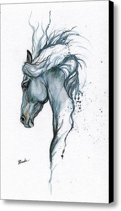 Blue Horse 2014 06 16 Canvas Print / Canvas Art By Angel Tarantella
