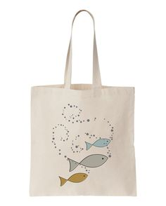 Natural Canvas Tote BAG with Fishies Design by apericots on Etsy, $10.99