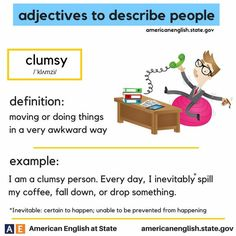 adjectives to describe people: clumsy Vocabulary Practice, Grammar And Vocabulary, Vocabulary Cards, Grammar Lessons, English Vocabulary Words, Writing Lessons, English Adjectives, English Idioms, English Phrases