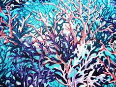 Coral Sea Aqua Pink Purple Ocean Fabri-Quilt Fabric Yard for sale online Pink Purple, Aqua, Coral, Mermaid Quilt, Yard, Quilts, Plants, Fabric, Tejido