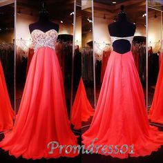 Strapless open back long red chiffon prom dresses