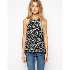 ASOS High Neck Cami Top In Spot Print ($18) ❤ liked on Polyvore featuring tops, camisole tank, high neck tank, high neckline tank top, cami tank and asos
