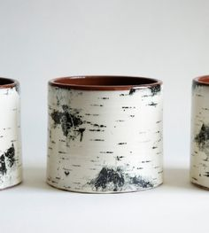 Sweden's on-going love for birch trees is also prevalent in design. The light colored bark is always welcome in Swedish homes.  The talented, Swedish potter, Maria Holmberg, found her way of incorporating a birch pattern on her pottery with a special ceramic printing technique.