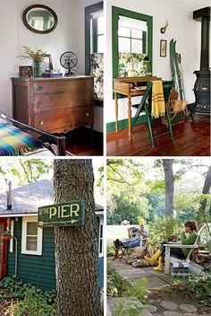 cabin. antique dresser. old skis. wood stove.