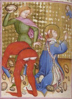 Martyrdom of St Stephen. Bibliothèque nationale de France, Latin Missale ad usum fratrum minorum. Milan, c.1385-1390. (With editorializing.)